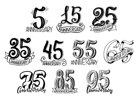 Vector hand lettering for anniversary year numbers
