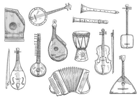 Conjunto de bocetos de instrumentos musicales. Acordeón de botón vectorial, pipa de caña o bandura popular y tambor jembe africano, shamisen japonés y guitarra banjo o cítara para música en vivo o concierto Ilustración de vector