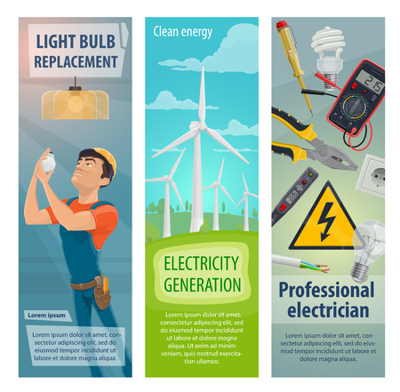 Vector electrician profession electricity banners