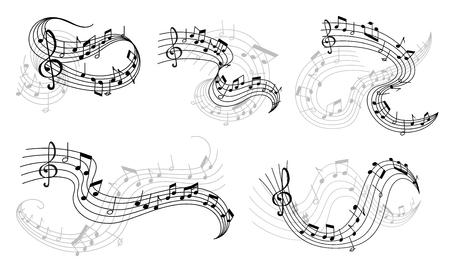 Notas musicales de vector en los iconos del personal Ilustración de vector