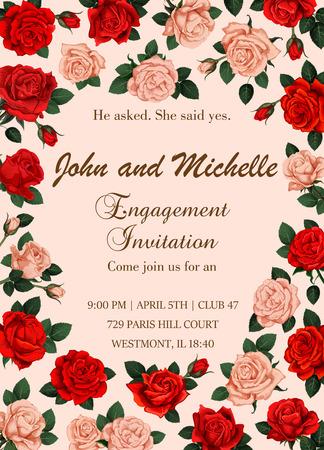 Flowers vector invitation or Save the Date wedding Иллюстрация