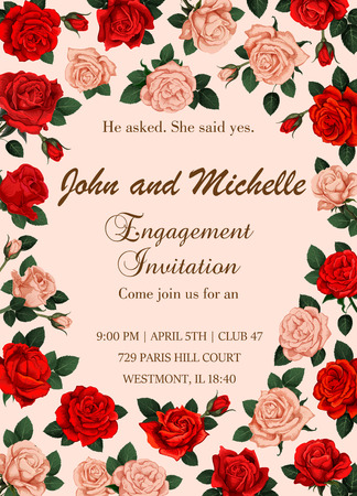 Flowers vector invitation or Save the Date wedding Illustration