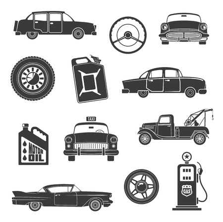 Retro cars and vintage automobile concept icons. Vector isolated set of retro taxi cab or loader truck, gasoline station and motor oil canister or tire and steering wheel for limousine