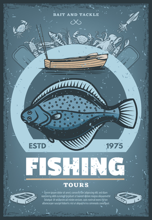 Fishing tours vintage sketch poster. Vector retro design of big flounder fish catch for professional fisher sport of inflatable boat, fisherman tent and waders for octopus, pike and trout fishing Illustration