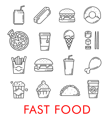 Vector fast food restaurant thin line icons