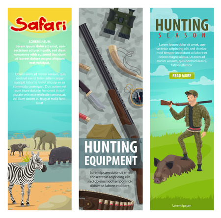 Hunting open season banners for safari hunter club of hunt equipment. Vector flat design of hunter in forest or Africa with rifle gun, binoculars and trophy of aper hog or zebra and hippo animals Иллюстрация