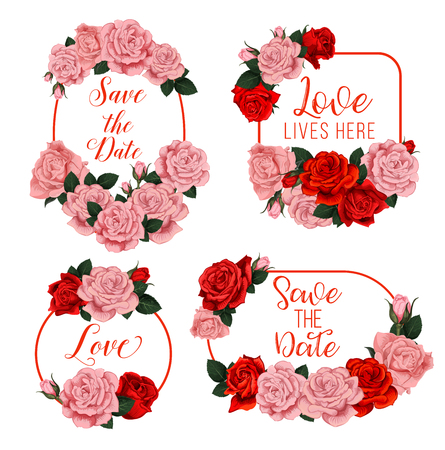 Wedding flowers frames with bride and bridegroom names for Save the Date engagement or wedding invitation cards design. Vector floral bouquets of blooming roses in flowery blossoms bunch