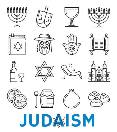Vector jodendom religieuze symbolen dunne lijn pictogrammen Vector Illustratie
