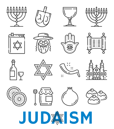 Vector Judaism religious symbols thin line icons Stock Illustratie