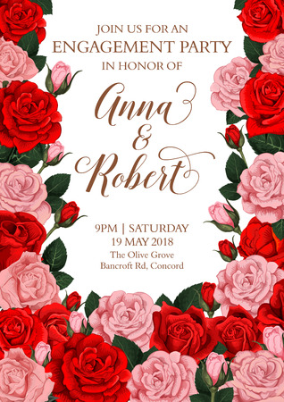 Vector engagement invitation card of roses flowers