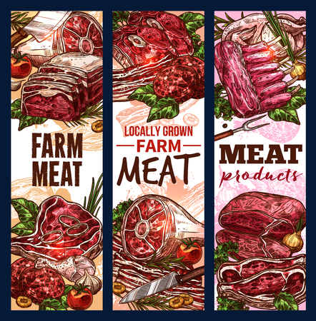 Vector sketch banners of meat steaks and loins  イラスト・ベクター素材