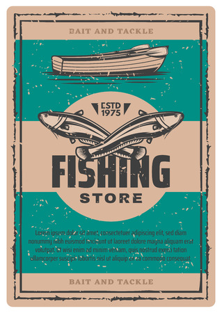 Fishing store vintage sketch poster. Vector retro design of big catfish or sheatfish catch with fisherman boat and paddles for professional fisher sport or fishery industry Illustration