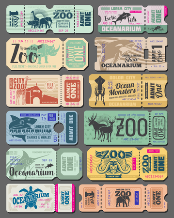 Zoo tickets vintage design of wild animals and fish. Vector retro admit tickets for zoological park or oceanarium of African giraffe, ocean monster whale or zebra and safari rhinoceros with cut line