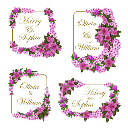 Wedding greeting cards of lilac or violet flowers for engagement party invitation. Vector Save the Date design of bride and bridegroom names in frame of hibiscus rose or crocuses flourish bouquets