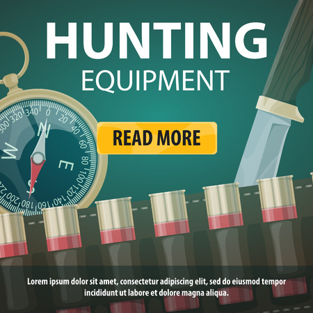 Vector hunting equipment store web poster