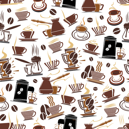 Vector coffee cup and makers seamless pattern