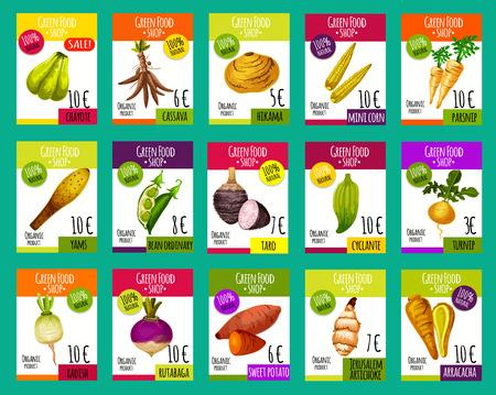 Tarjetas de precios de vectores para verduras exóticas