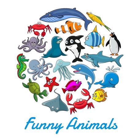 Affiche de vecteur d'animaux marins de dessin animé et de poissons Vecteurs