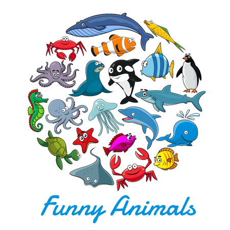 Cartel de vector de dibujos animados de animales marinos y peces Ilustración de vector