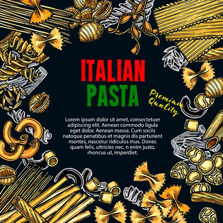 Manifesto di schizzo di vettore di pasta premium italiana