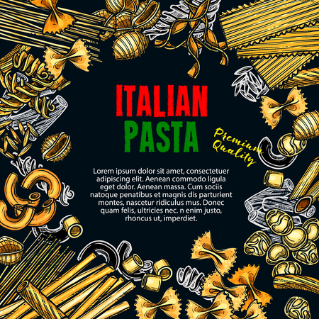 Vector sketch poster of Italian premium pasta Illustration