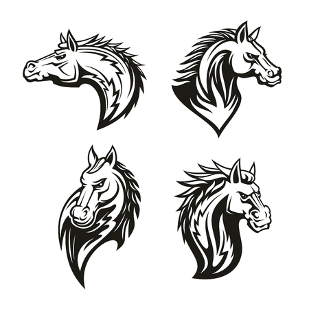 Vector icon of heraldic royal horse head