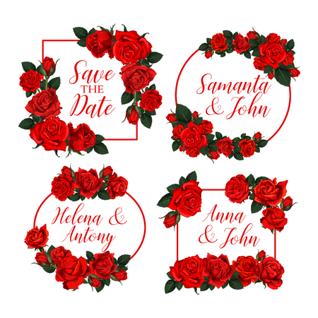 Vector rose flowers frames for Save the Date