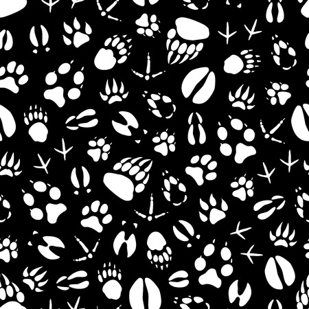 Animals and birds footprints seamless pattern. Vector tracks background of crow or sparrow claws, wild bear or wolf and hare paws, boar or elk and deer hoof prints