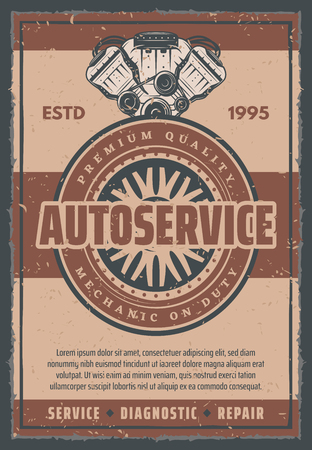 Car auto service station retro poster of motor or engine piston with valves and tire wheel. Vector vintage design for automobile shop or mechanic repair center or car garage station