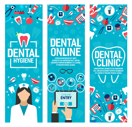 Dental clinic or online dentist medical center banners. Vector flat design of dentistry nurse, clean white tooth, toothpaste with toothbrush and doctor prescription on smartphone Illusztráció