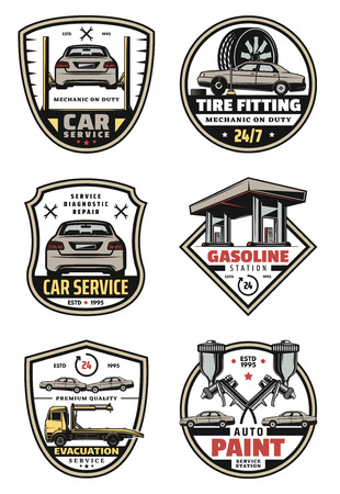 Vector retro icons for car auto service