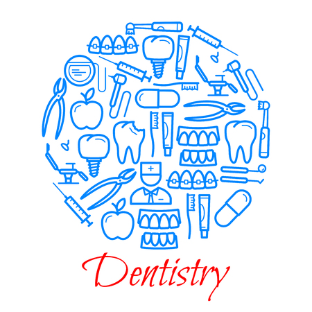 Dentistry poster of dental concept thin line icons. Vector design of dentist doctor with tooth, toothpaste or toothbrush and implants, pliers and medical chair with orthodontic syringe