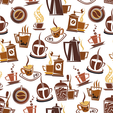 Vector seamless pattern of coffee Stock Illustratie