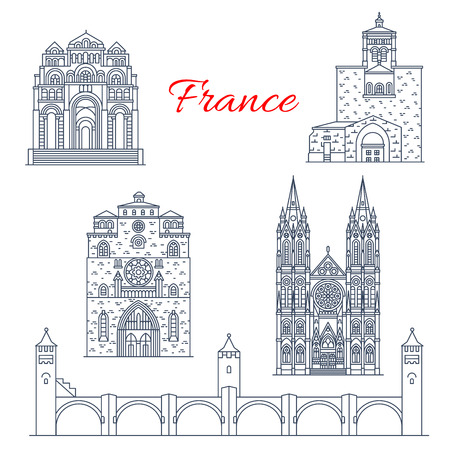 France Clermont or Champagne vector line landmarks