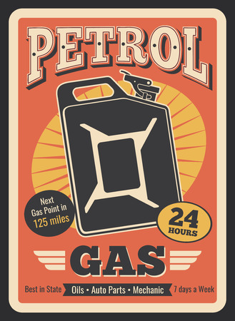 Gasoline station retro poster of gas canister or gasoline jerrycan. Vector vintage design for car service, automobile shop or mechanic repair and oil change garage center or auto spare parts shop Ilustração