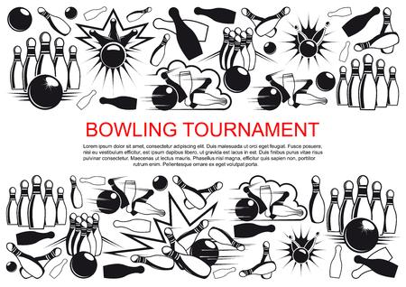 Affiche de vecteur pour le tournoi de bowling