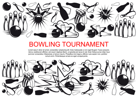 Vector poster for bowling tournament