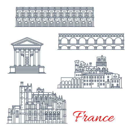 Vector Nimes and Narbonne architecture in France
