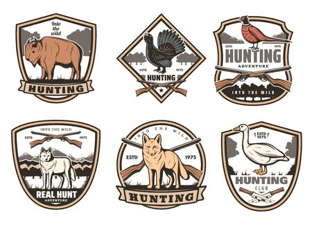 Vector icons for hunting club open season