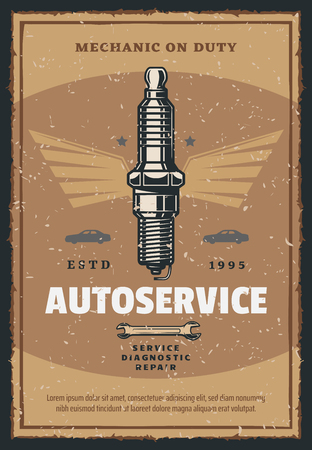 Car auto service vintage poster for automobile spare parts shop or mechanic repair and garage center. Vector retro advertisement design of car ignition spark plug with spanner wrench and stars