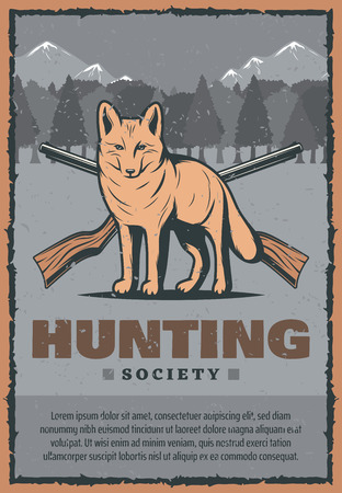 Hunting club or hunter society vintage poster of snow fox in mountains and crossed rifle guns. Vector retro design for wild hunt adventure in forest or hunter open season design