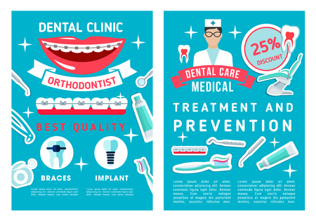 Dentistry medicine brochure for dental disease prevention and healthcare. Vector poster design of dental treatment and orthodontic doctor medical tools, tooth, toothpaste or toothbrush and implants