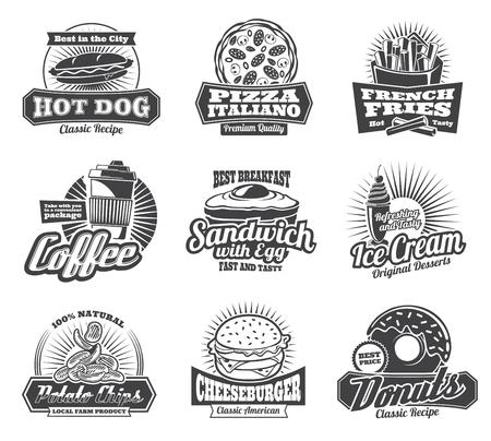 Iconos de restaurante o bistro de comida rápida de vector