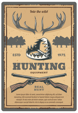 Hunting equipment shop retro poster for hunter open season club. Vector vintage design of elk antlers trophy, crosses rifle guns and wild animal trap for forest or outdoor hunt adventure Illusztráció