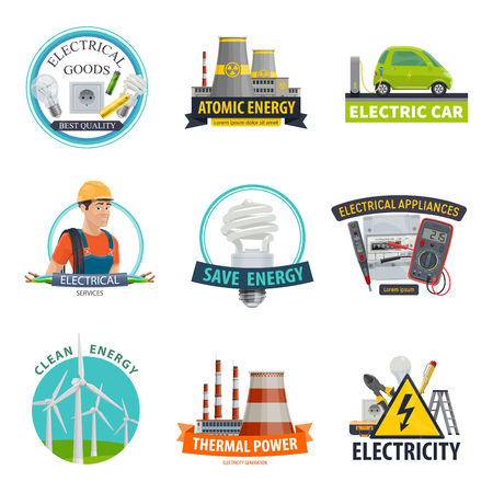 Vector electricity power technology icons Vector Illustration