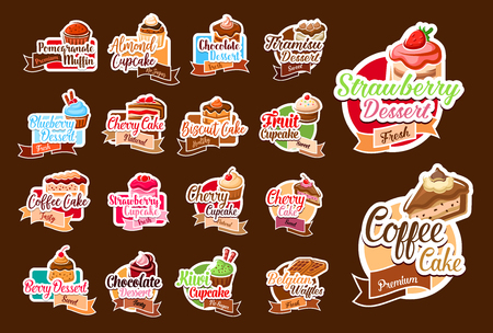 Vector stickers of pastry desserts and cakes