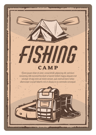 Vector fisher tent, boots and boat vintage poster
