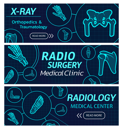 Radiology medical center vector X-ray banners