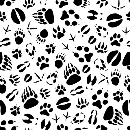 Vector animal or bird footprints seamless pattern