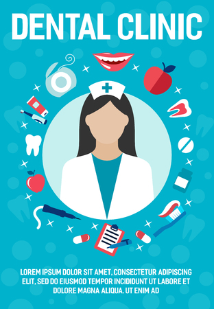 Dental clinic poster of dentistry medicine icons of dentist nurse doctor and medicines. Vector flat design of medical tools, tooth, toothpaste or toothbrush and implants or smile and apple